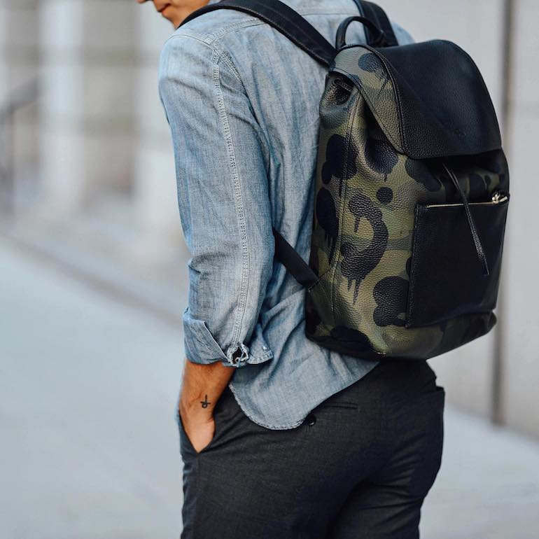 mens camo backpack streetstyle