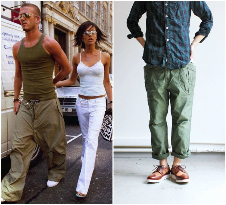 mens cargo pants style 2000s david beckham