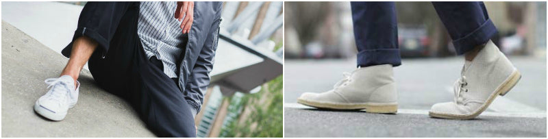 mens jeans pin roll with trainers and desert boots