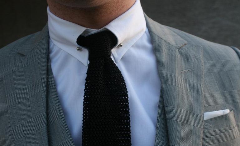 mens collar pin on shirt