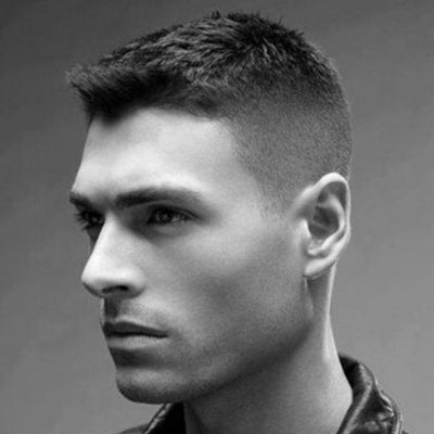 mens crew cut side profile