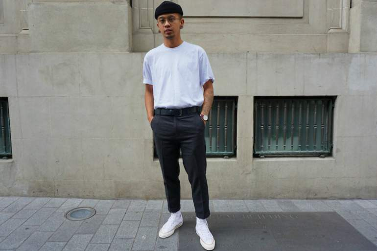mens cropped trouser converse white t-shirt hat