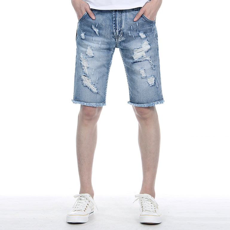 mens denim shorts ripped frayed