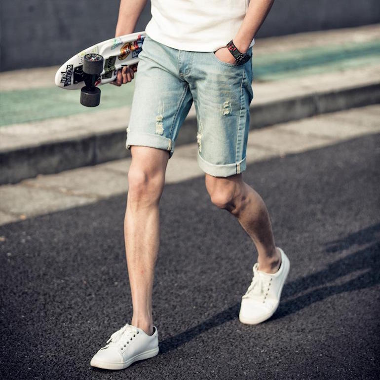 mens denim shorts white t shirt