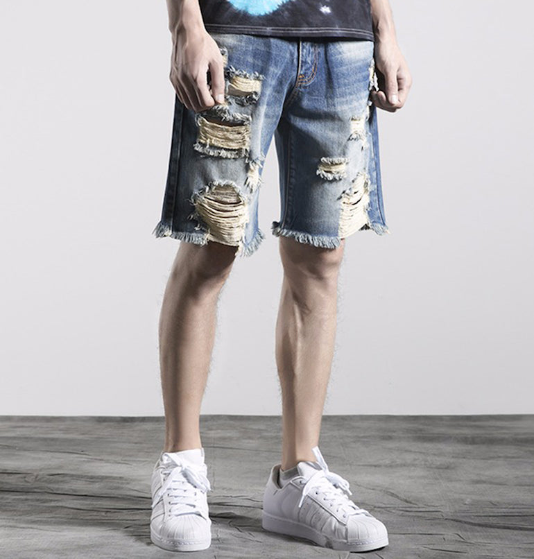 mens distressed denim shorts