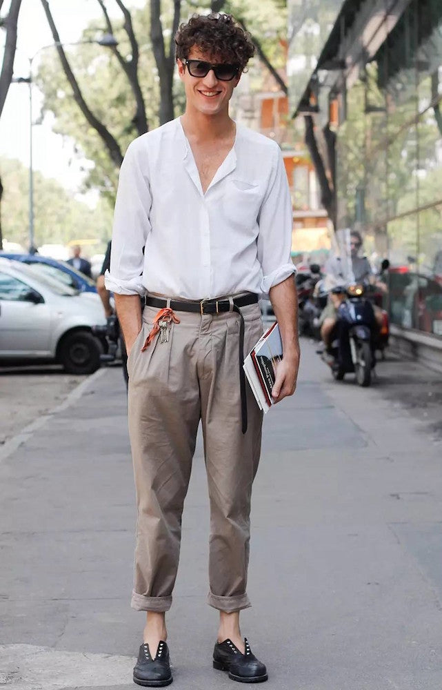 mens fashion rolled trousers white shirt black brogues