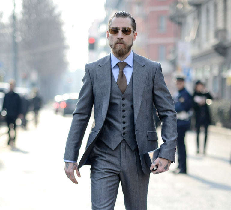 mens grey 3 piece suit street style