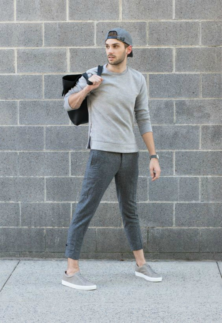 mens grey cropped trouser jumper hat shoes