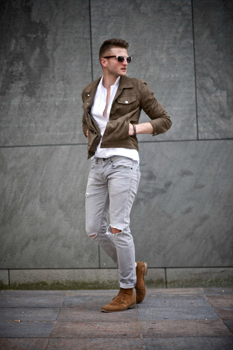 mens grey jeans brown shoes chelsea boots leather jacket sunglasses