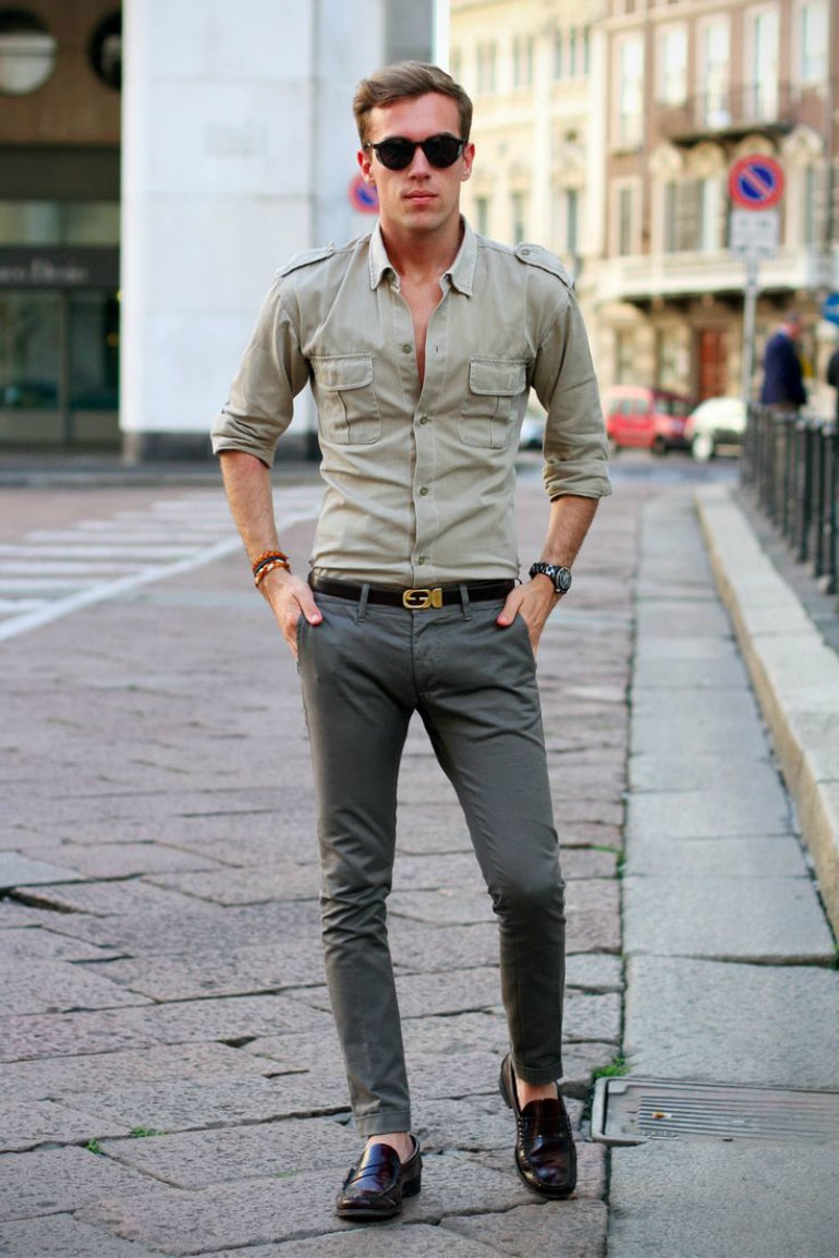 mens grey jeans shirt loafers sunglasses street style outfit