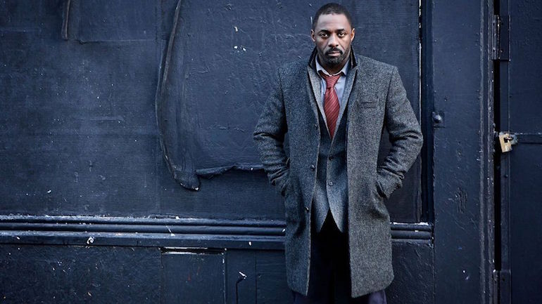 mens idris elba grey wool coat grey blazer red tie blue chinos street style