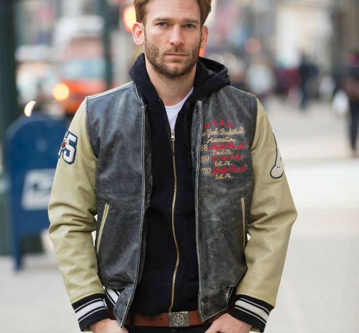 mens street style leather jacket