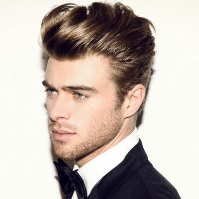 mens long blonde pompadour hairstyle