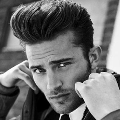 mens long brown pompadour hairstyle
