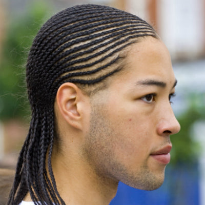 mens long cornrow style