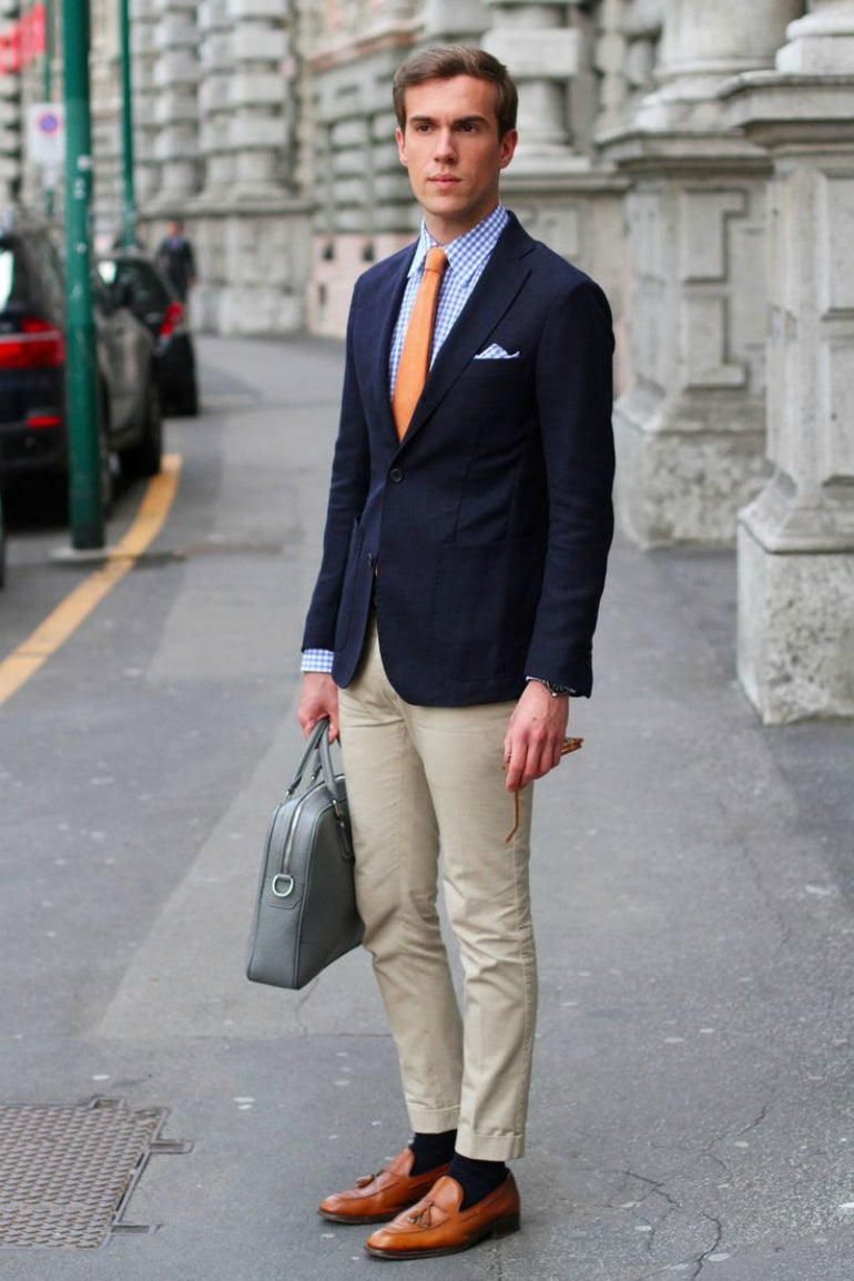 mens navy blazer chinos loafers street style