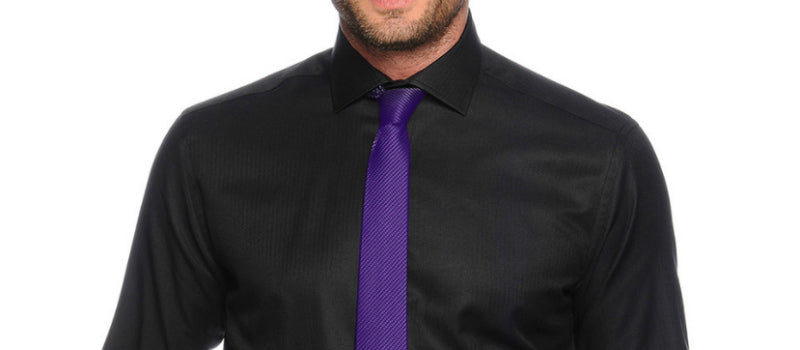 mens black shirt purple tie