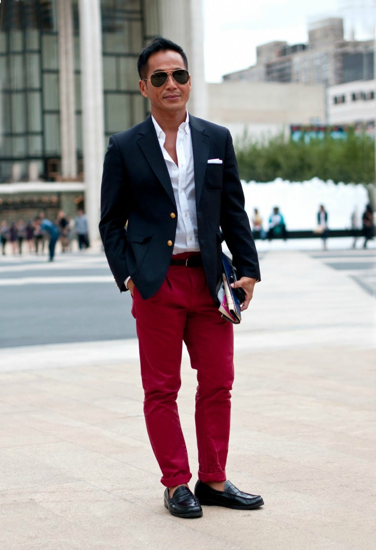 mens red trousers and blue blazer white shirt loafers sunglasses