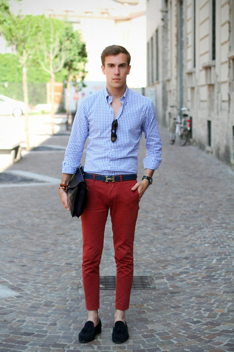 a66660a5e7a9 ... mens red trousers black loafers smart shoes blue checked smart shirt
