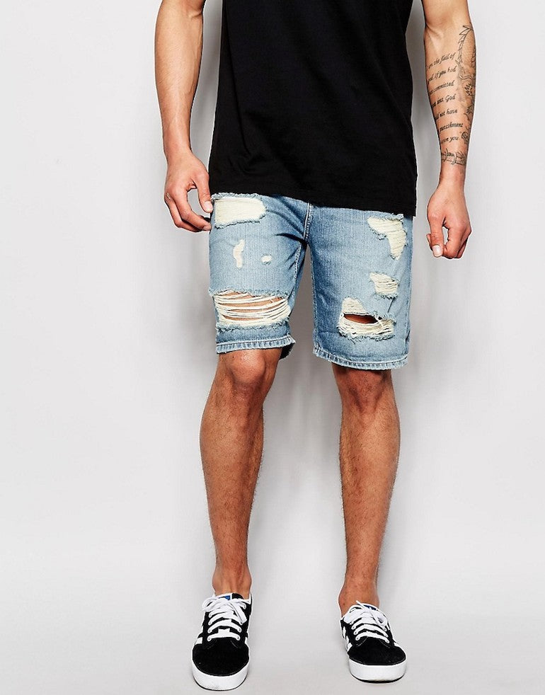 mens ripped shorts denim