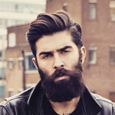 mens side parting with beard