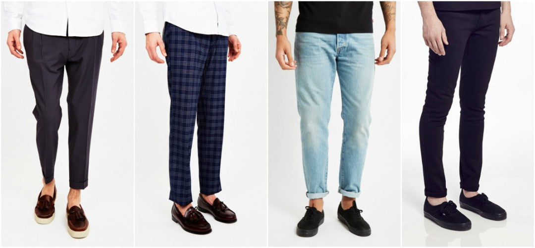 mens smart trousers and slim fit jeans with loafers and trainers sockless