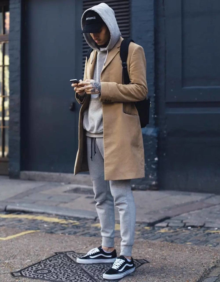 304b3a3864 mens street style camel overcoat grey hoodie grey tracksuit bottoms black  vans The great things about Old Skools ...