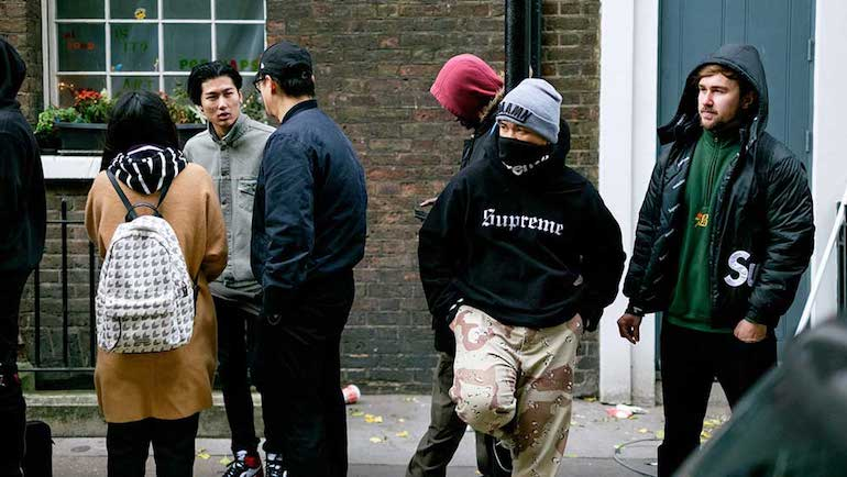 mens street style supreme hoodie london