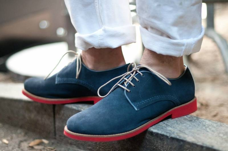 mens street style white jeans blue suede derby shoes