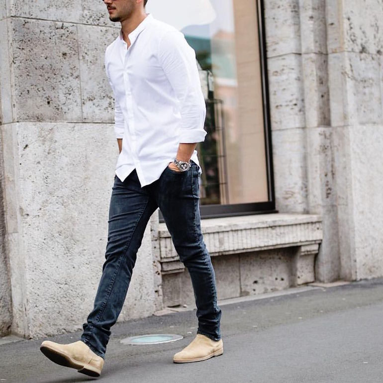 mens street style white shirt black jeans sand chelsea boots