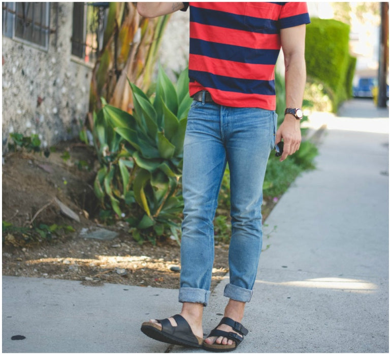 mens style blue jeans striped tshirt black birkenstocks