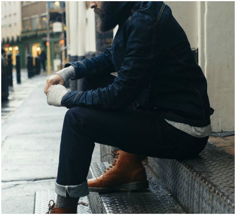 mens style denim jacket roll up jeans brown boots
