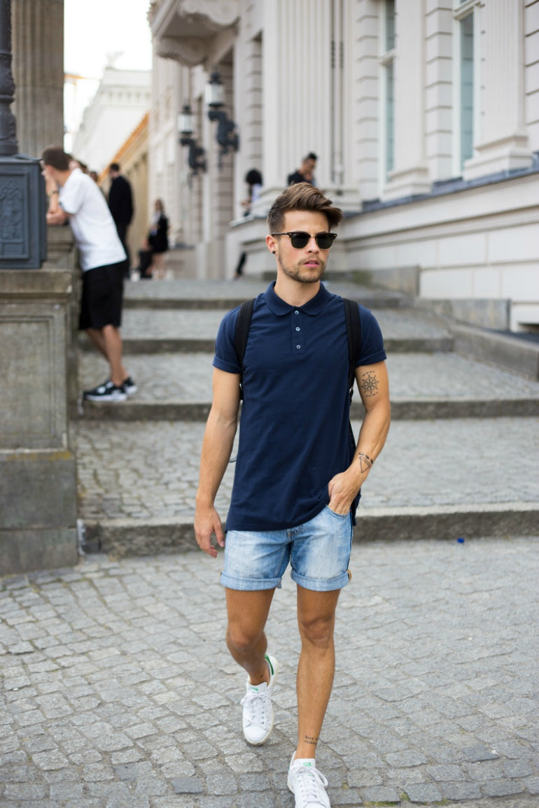 mens summer street style blue t-shirt denim shorts trainers