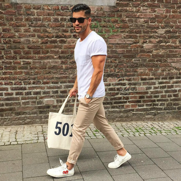 mens tan chinos converse white t-shirt sunglasses street style