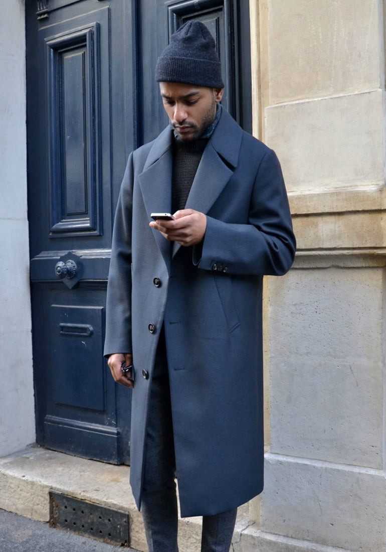 mens navy trousers topcoat street style