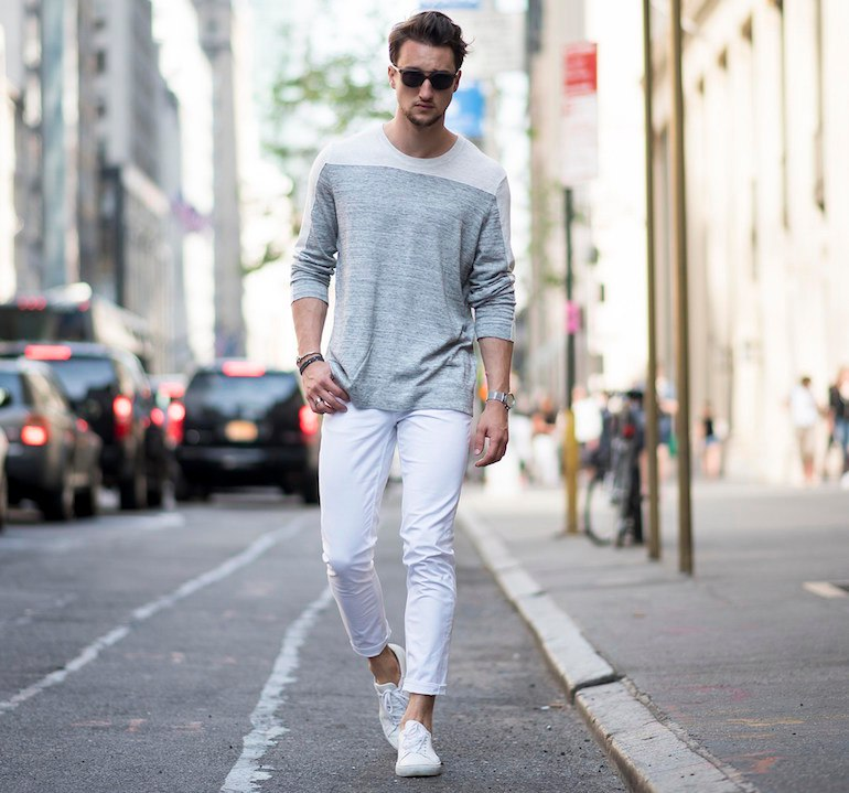 mens white jeans grey jumper white shoes outfit