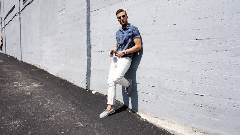 mens white jeans striped shirt loafers outfit