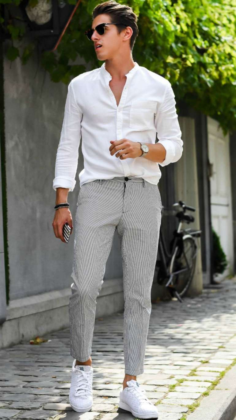mens white shirt trousers white trainers sunglasses street style