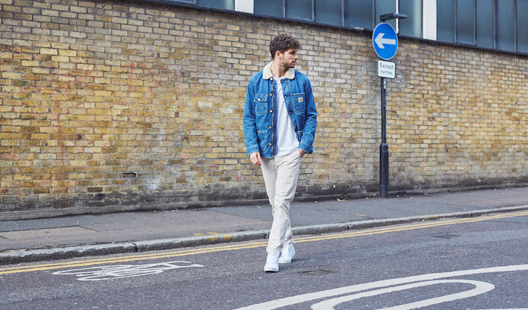 mens white trainer chinos denim jacket street style