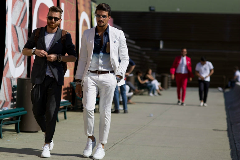 mens white trousers chinos smart casual outfit street style