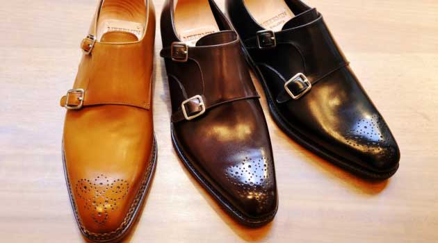 brown tan black Monk strap double shoes