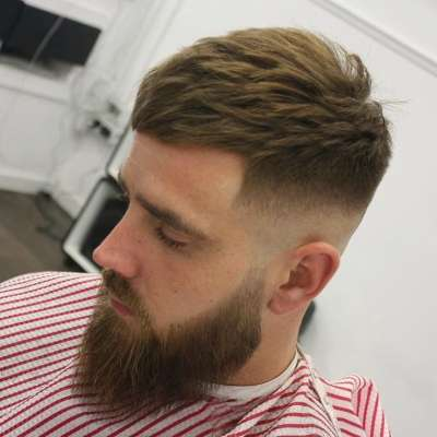 mens midfade haircut and beard blonde hair