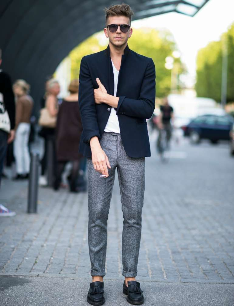 navy blazer grey trousers mens street style