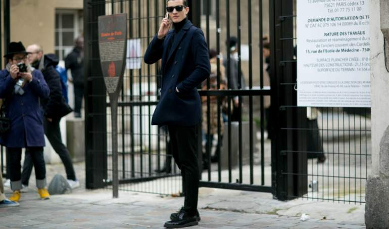 navy peacoat formal mens street style
