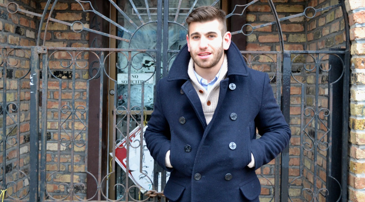 mens navy peacoat outfit street style