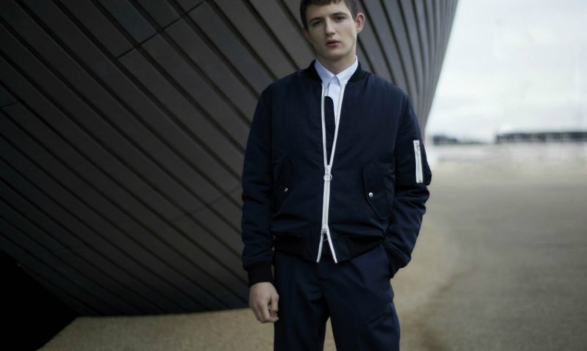 mens navy trousers and navy bomber street style