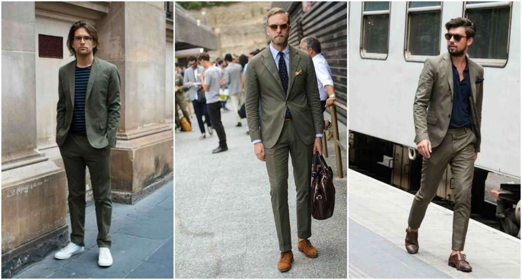olive green suits mens street style