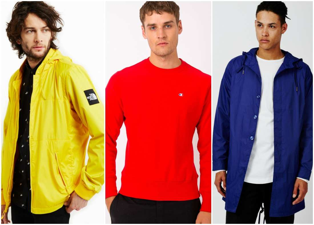 outfit grid men wearing red blue yellow
