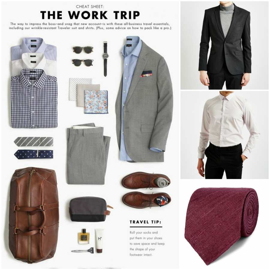 outfit grid business trip suit shirt ties shoes holdall accessories