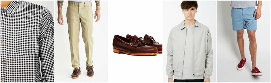 outfit grid casual packing ideas check shirt beige trousers brown loafer grey jacket blue shorts